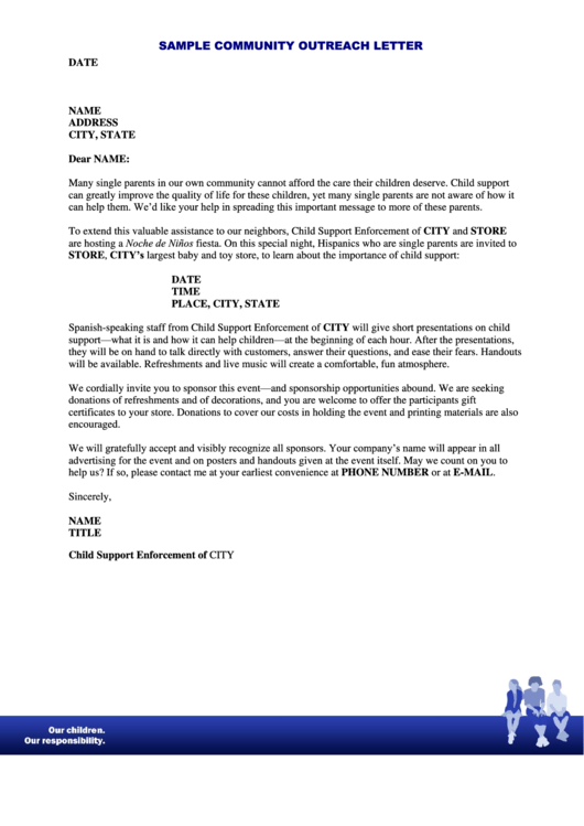 Sample Community Outreach Letter