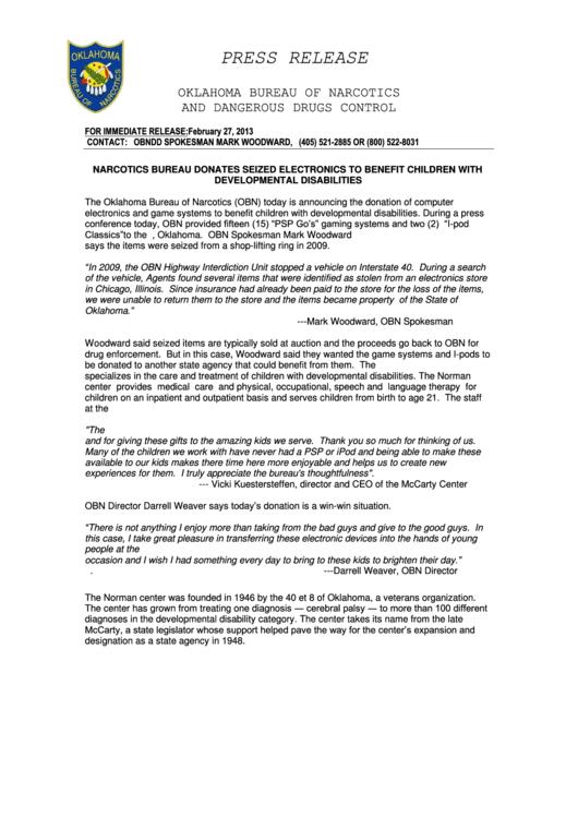 Press Release - Oklahoma Bureau Of Narcotics And Dangerous Drugs Control Printable pdf