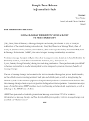 Sample Press Release In Journalistic Style - Abmp