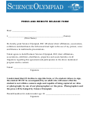 Press And Website Release Form - Science Olympiad