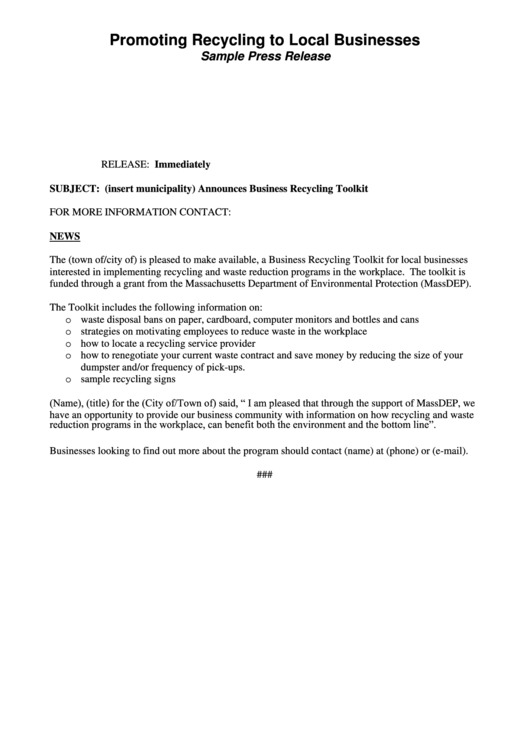 Sample Press Release - Promoting Recycling To Local Businesses Printable pdf