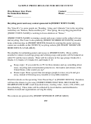 Sample Press Release For Reuse Event