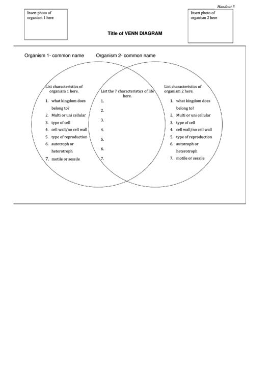 Venn Diagram Template printable pdf download