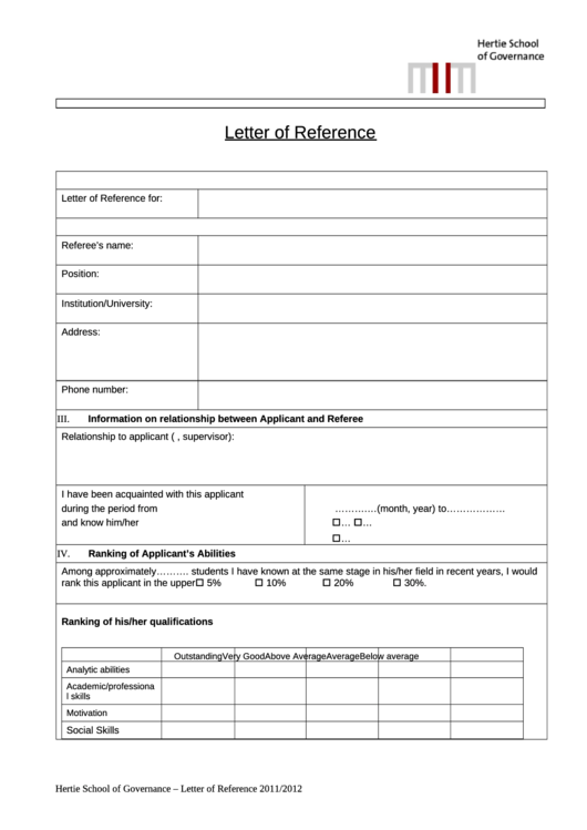 Letter Of Reference Template Printable pdf
