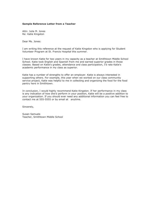 Sample Reference Letter From A Teacher