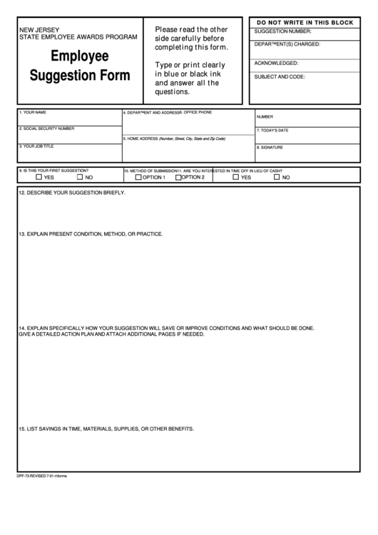 Top 9 Employee Suggestion Form Templates free to download in PDF format