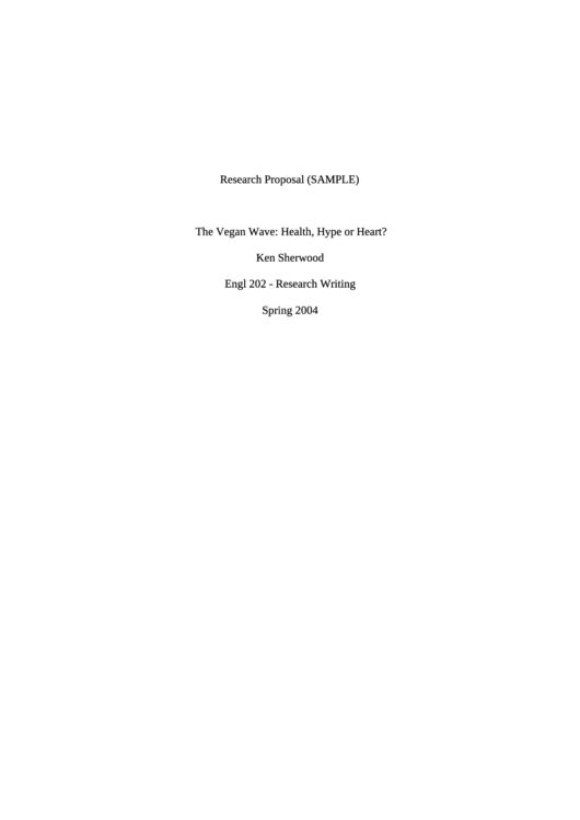 Research Proposal Sample Printable pdf