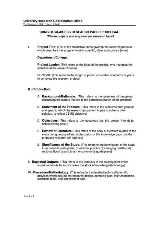 Cbms Dlsu - Akiebs Research Paper Proposal Printable pdf