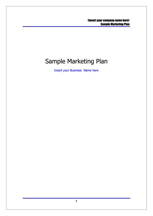 Sample Marketing Plan Template Printable pdf