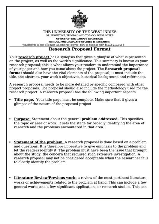Research Proposal Format Printable Pdf Download