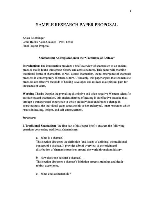 Sample Research Paper Proposal Printable pdf