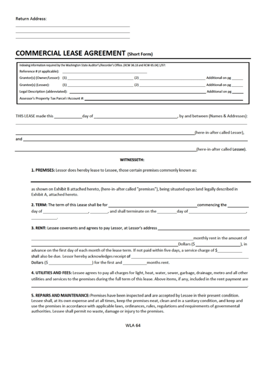Fillable Commercial Lease Agreement Short Form Printable Pdf Download