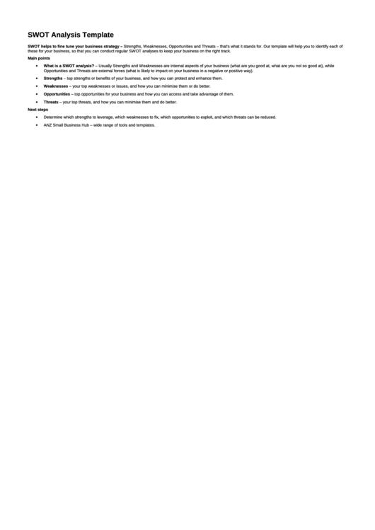 Swot Analysis Template Printable pdf