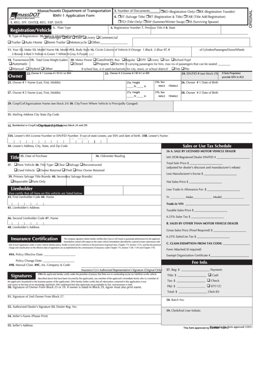 Rmv 1 Form >> Fillable Form Rmv 1 Vehicle Registration Form Printable Pdf Download