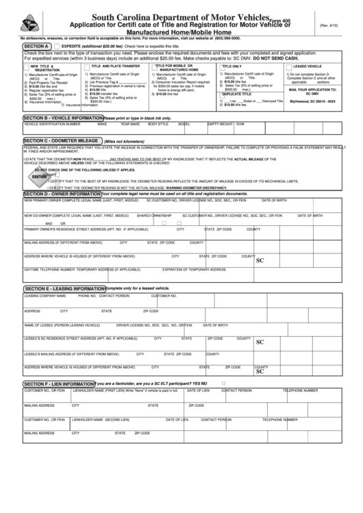 Fillable Form 400 - Application For Certificate Of Title ...