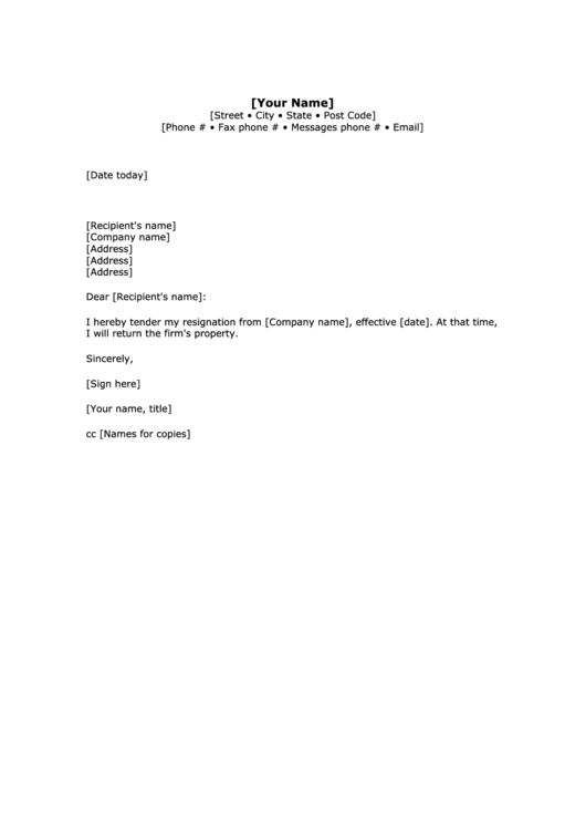 Employment Resignation Letter Template Printable pdf