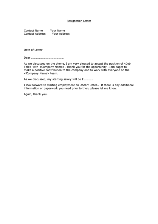 Resignation Letter Template Printable pdf