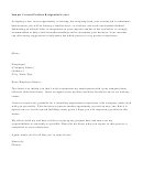 Sample Current Position Resignation Letter Template