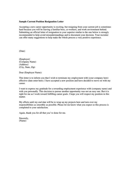 Sample Current Position Resignation Letter Template Printable pdf