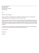 Employment Resignation Letter Template