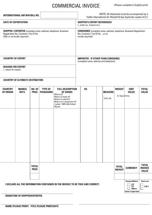 Fillable Commercial Invoice Template Printable pdf