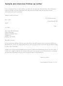 Sample Job Interview Follow Up Letter