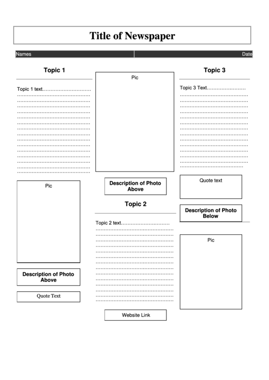 Newspaper Article Template
