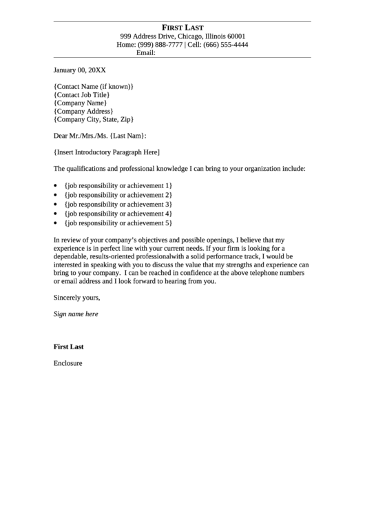 Sample Cover Letter Template Printable pdf