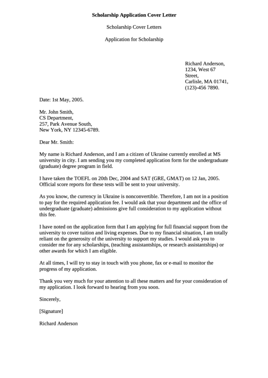 Scholarship Application Cover Letter Printable pdf