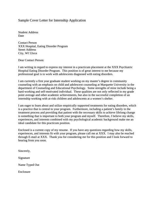 Sample Cover Letter For Internship Application Printable pdf