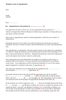Template Letter Of Appointment