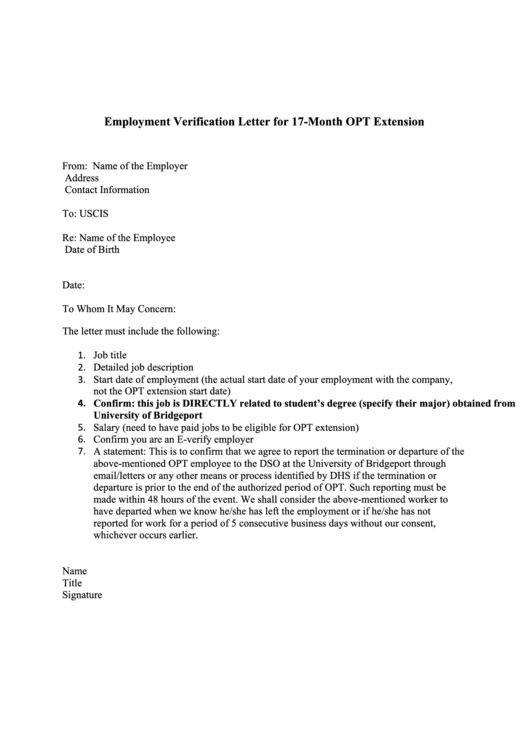 Employment Verification Letter For 17-Month Opt Extension ...