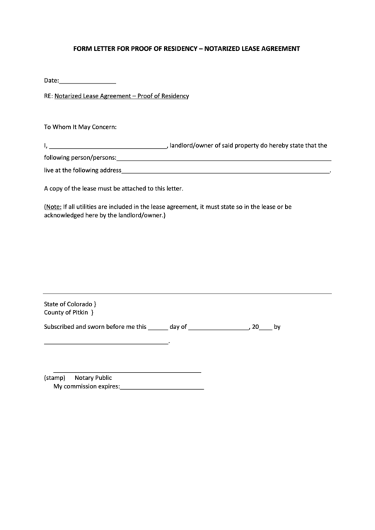 Proof Of Residency Letter Template Notarized Lease
