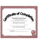 Certificate Of Completion Template - White