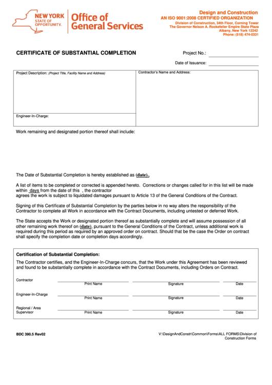 form bdc 390 5 certificate of substantial completion printable pdf download. Black Bedroom Furniture Sets. Home Design Ideas