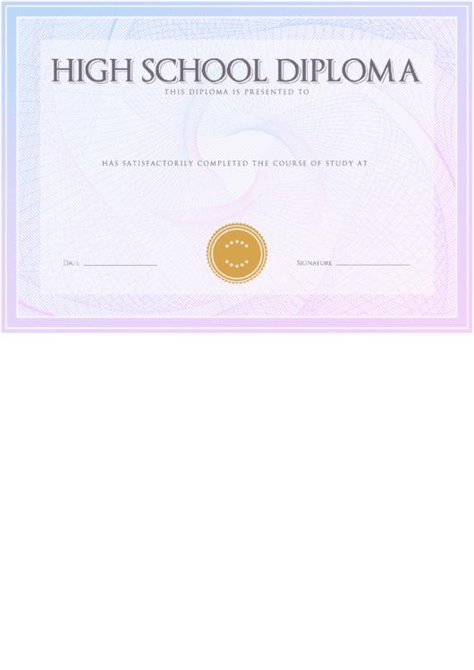 High School Diploma Printable pdf
