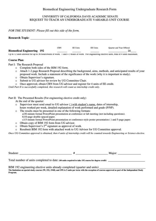 Biomedical Engineering Undergraduate Research Form