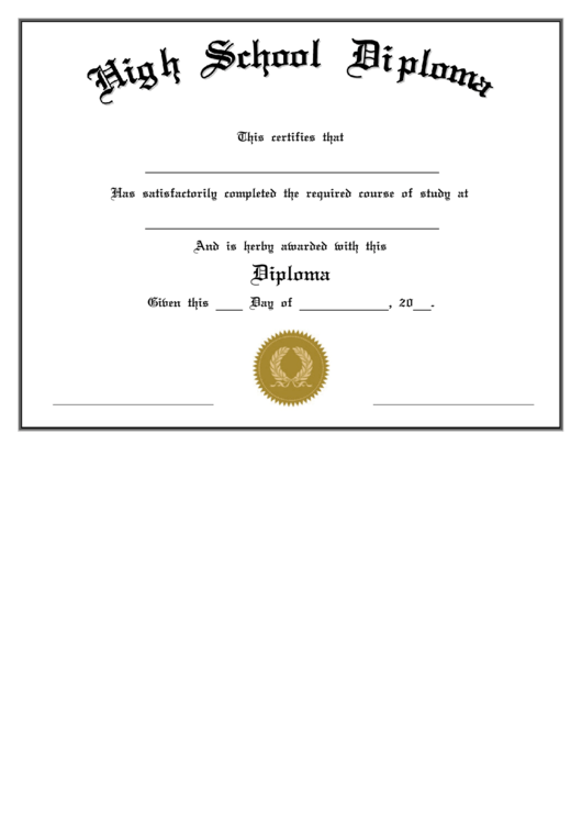 Fillable High School Diploma Certificate Course Completion Printable pdf