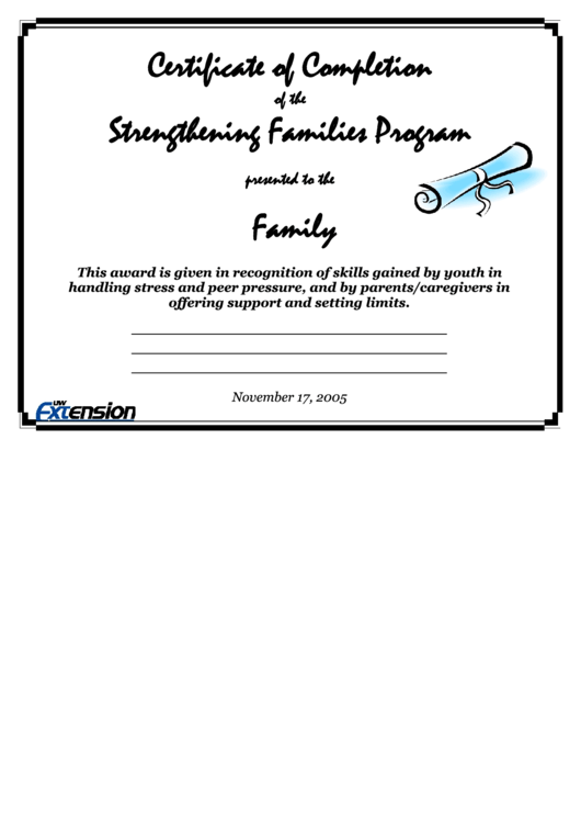 Certificate Of Completion Of The Strengthening Families Program Template