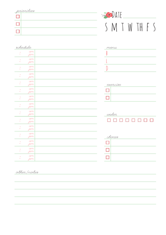 Fillable Daily Schedule Planner Printable pdf