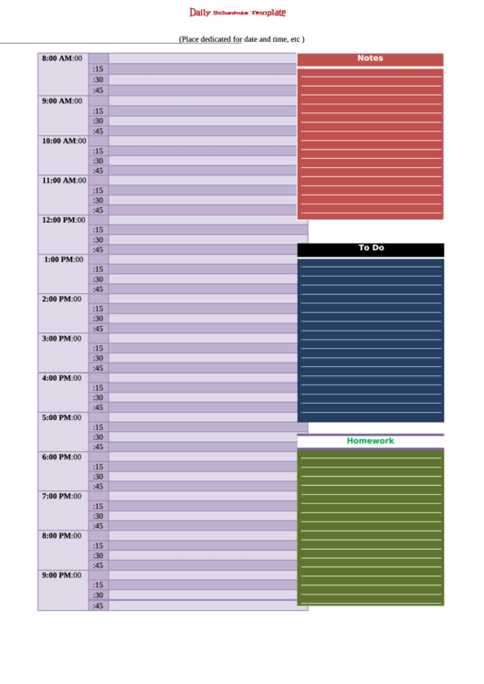 Daily Schedule Template Printable pdf