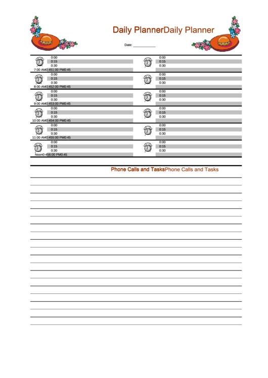 Daily Planner Template - Orange Printable pdf