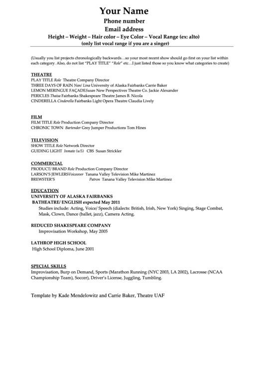 Acting Resume Template Printable Pdf Download