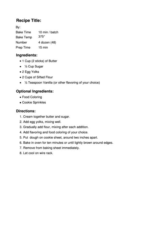 Sample Recipe Template Printable pdf