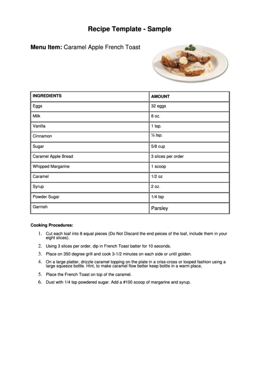 Recipe Template Sample