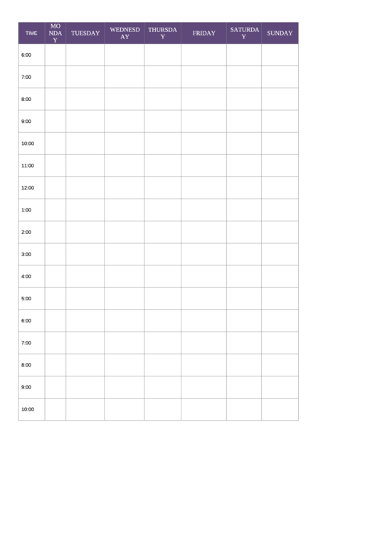 Daily Schedule Planner Template - Purple Printable pdf