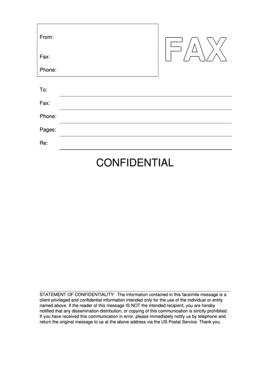 Blank Confidential Fax Cover Sheet Printable Pdf Download