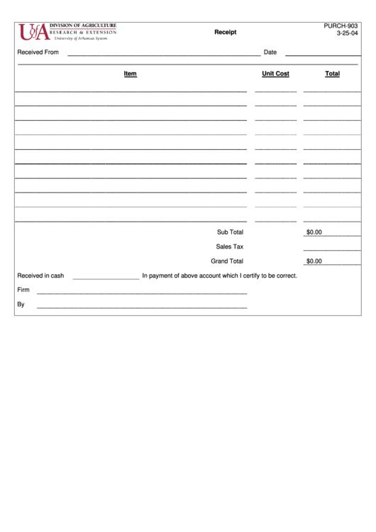 Receipt Template Printable pdf