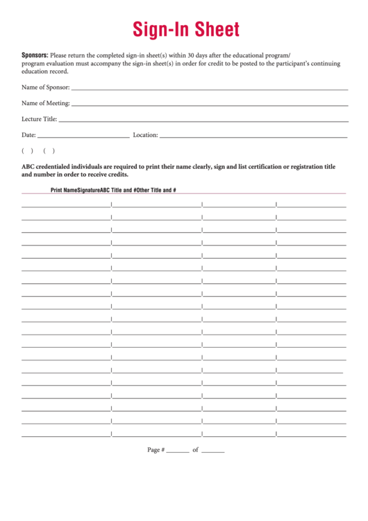 Meeting/lecture Sign In Sheet Template