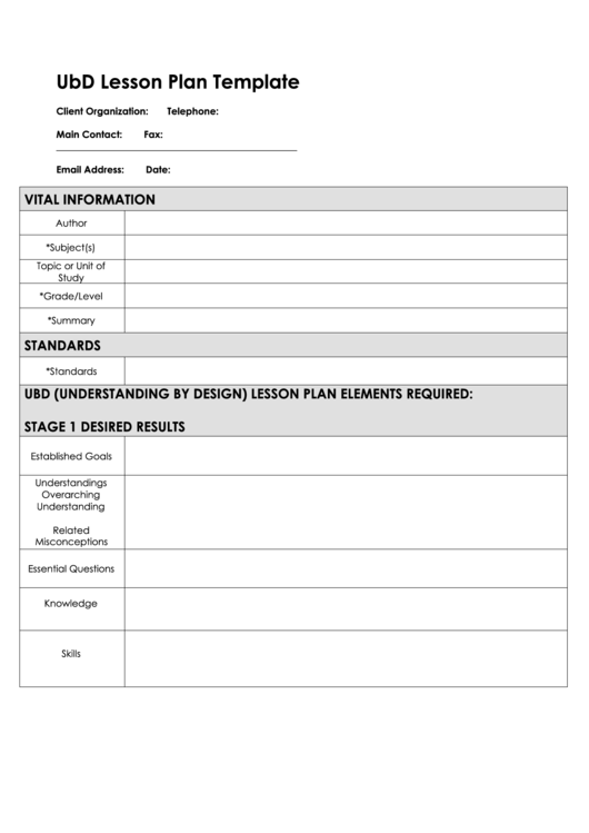 Fillable ubd lesson plan template page 2 of 2 in pdf - Understanding by design lesson plan template ...